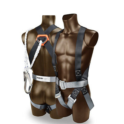 Safety Fall Protection Kit Full Body Harness w/ Shock-absorbing Safey Lanyard