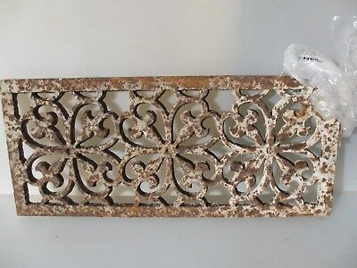 """Antique Iron Floor Grate Grille Vent Drain French Gilt Victorian   17.5"""" x 7.5"""""""