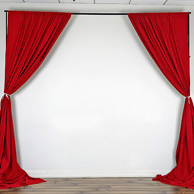 RED 10 x 10 ft Polyester BACKDROP CURTAINS Drapes Panels Home Party Decorations