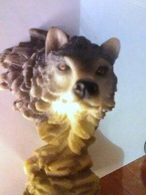 Vintage Wolf Head Statue by Herco