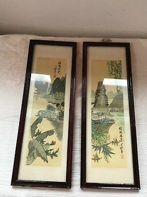 Vintage Pair of Chinese Artist Signed Paintings in Long Narrow Wood Frame -