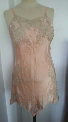 Vintage gatsby art deco Silk & Lace Cami Knickers Play Suit Teddy size 10
