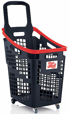 Araven 4 Wheel Plastic Shopping Trolley Basket 65L Extra Large