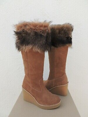 51e011a3f20 UGG CHESTNUT VALBERG Suede/ Toscana Sheepskin Wedge Boots, Us 7 ~Nib ...