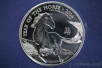 2014 U.K. 2 Pound Silver Year of the Horse .999 1 oz Silver Round Coin