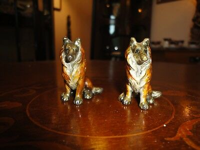 Austrian Cold Painted Pair Of Bronze Collie Dogs