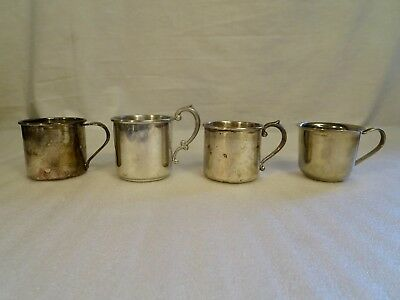 Vintage Lot of 4 Silver-plate, Pewter Baby Cups~Oneida,Trent,Leonard,Eastern