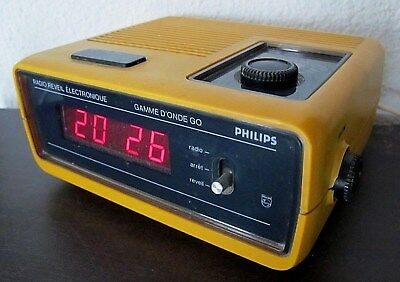 rare ancien radio réveil vintage Philips gamme d'onde GO orange space age 1970's