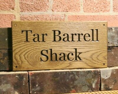 Personalised Solid Oak Engraved Sign Custom Carved Wooden Outdoor House Name