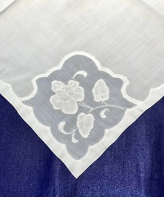 Vintage Madeira Linen Napkins with Organdy Insert and Flower Applique, Lovely