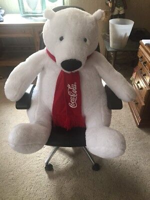 "COCA COLA POLAR BEAR Huge PLUSH Coca Cola Teddy Bear GIANT 30"" ++"