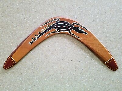 Australian HAND PAINTED Carved Wooden BOOMERANG Aboriginal Designed gently used