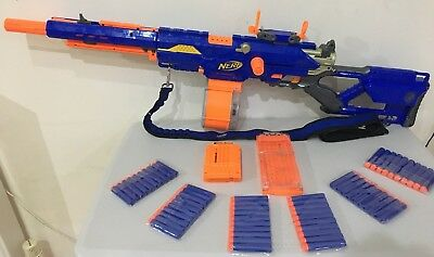 Nerf Longstrike CS-6 sniper rifle, 25 Drum , Darts Bundle Bandolier Rare Sight