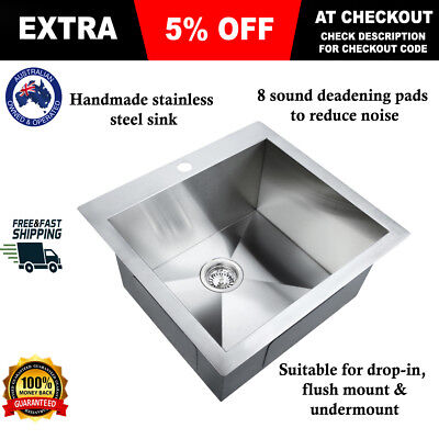 304 Stainless Steel Sink Kitchen Laundry Basin Strainer Square Satin Finish NEW