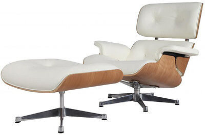 Eames Style Lounge Chair & Ottoman Reproduction Aniline Leather White Natural