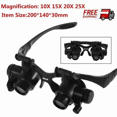 10X 15X 20X 25X LED Glasses Jeweler Magnifier Watch Repair Magnifying Loupe G8