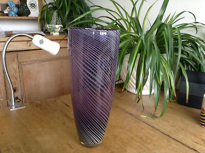 Contemporary Betty Jackson Black Art Glass Lilac with White Spiral Twists