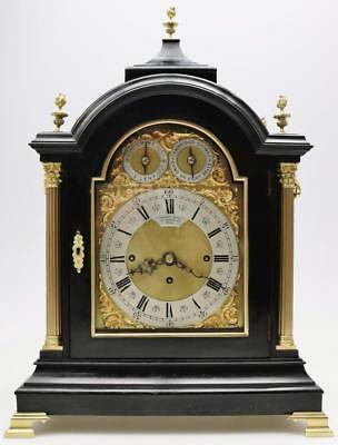 Antique English Ebonised & Bronze Triple Fusee Musical 8Day 9 Bell Bracket Clock