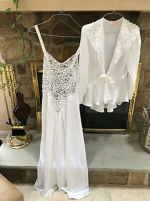 VTG W White Bridal F Nikrooz Sheer Peignoir Robe Nightgown Negligee Gown SET M