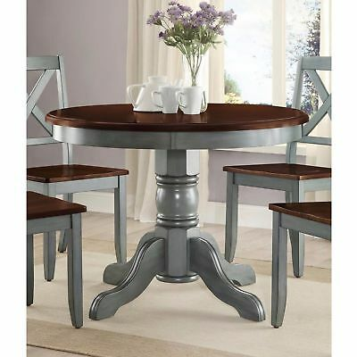 Farmhouse Solid Wood Dining Table Round Pedestal Antique Blue Brown Kitchen