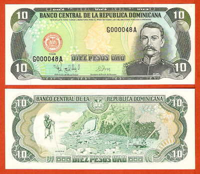 P153c  Dominikanische Republik  10 Pesos  1998 Low Nr.!!!!!   UNC