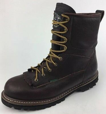 9f2162562ec GEORGIA MEN'S WATERPROOF Lace-to-toe Low Heel Logger Brown Work Boot G101  Sz 13M