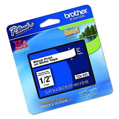 """Brother P-touch TZe231, 1/2"""" (0.47"""") Black on White Standard Laminated Tape -..."""