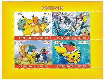 Chad 2018 MNH Pokemon Sheetlet, 4 x f500 Vals, Pikachu, Bulbasaur, Squirtle