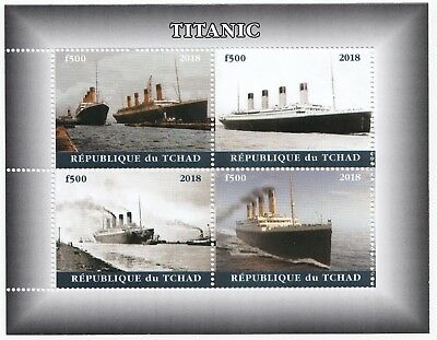 Chad 2018 MNH Titanic Sheetlet, 4 x f500 Vals, White Star Line, Nautical Stamp