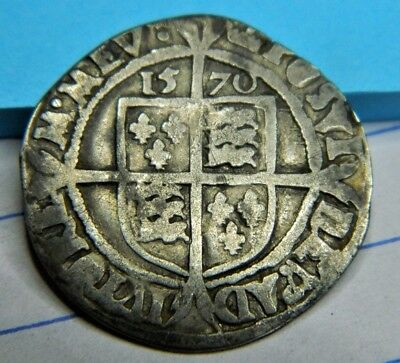 Tudor 1570 Elizabeth 1St Silver Sixpence Mm Coronet Rose Beside,mm Coronet