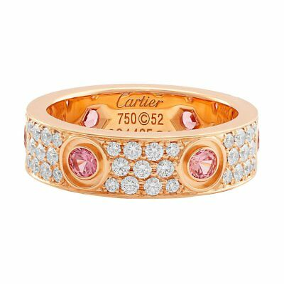 8466ec8f4ed591 CARTIER LOVE RING 18KT Rose Gold Pave Diamond And Pink Sapphire ...