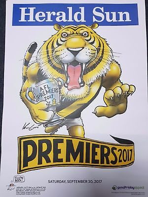 RICHMOND TIGERS 2017 AFL PREMIERSHIP POSTER MARK KNIGHT HERALD SUN WEG in stock