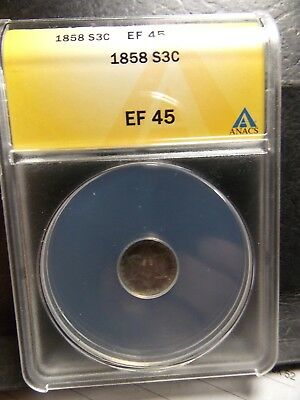 1858 3-Cent Three Cent Silver - EF 45 ANACS Extra Fine 45