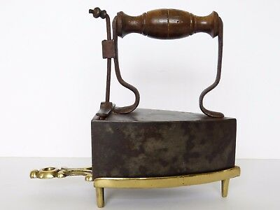 Antique Coal Ash Box SAD Clothing Cast IRON with Scrollwork BRASS TRIVET Stand