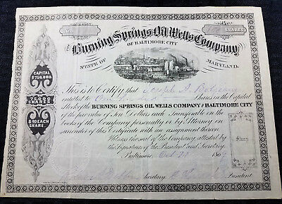 BURNING SPRINGS OIL WELLS Co. of Baltimore, Maryland Stock Certificate - 1869