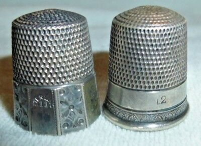 2 Antique American Sterling Silver Thimbles by Simons Bros  Circa 1880-1920s