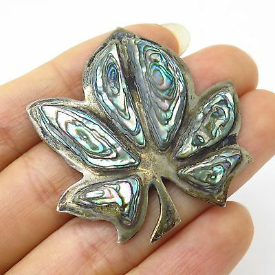 Antique Mexico Signed 925 Sterling Silver Abalone Shell Cannabis Leaf Pin Brooch