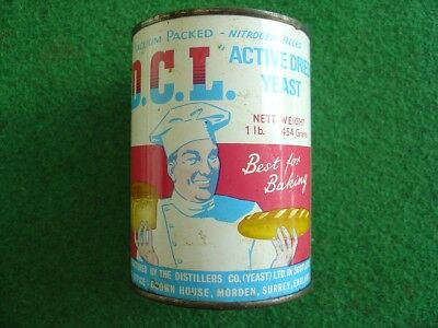 1950's DCL dried yeast tin & contents/grocery/retro/vintage