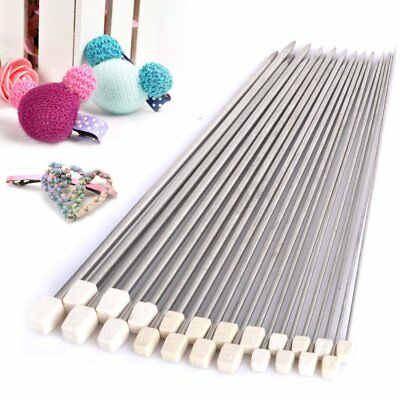 Set of 22pcs Stainless Single Pointed  Sewing Knitting Needles 2mm-8mm New UK