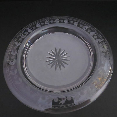 Antique Victorian ice desert plates with wheel cut design frosted bottom x 3