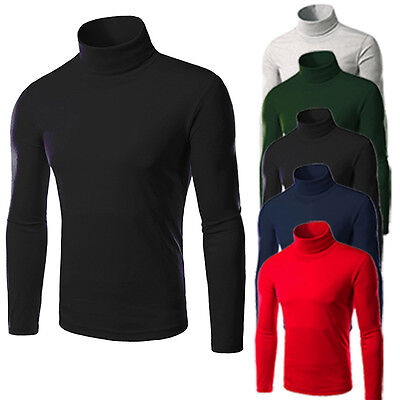 Mens Thermal Cotton Turtle Polo Neck Skivvy Turtleneck Sweaters Stretch T_Shirts