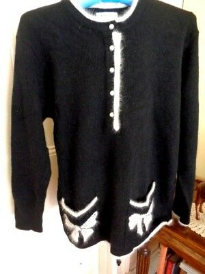 Retro Lambswool/angora Jumper Black With White  Trims By Meredith