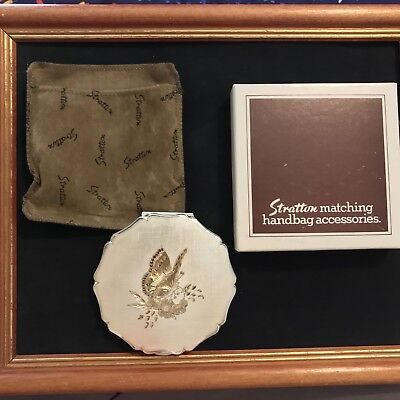 Vintage Antique Stratton Powder Compact Silver plate Hand Engraved
