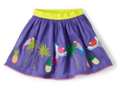 Mini Boden Girls 9-10Y Embroidered Bird Parrots Appliqué Twirl Skirt Purple