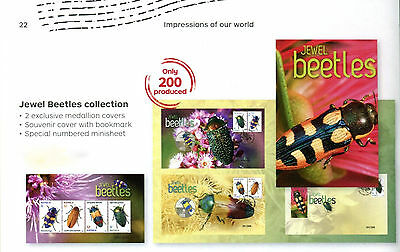 2016 Jewel Beetles collection (M/s,metallic medallion covers + cover) Ltd 91/200