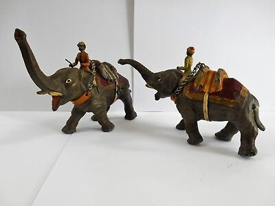 Pair Of Vintage Cold Painted Spelter Elephant Figurines / Original Colourways