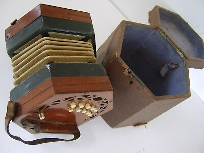 Antique Lachenal Concertina 21 buttons 1800s Accordion ORIGINAL BOX