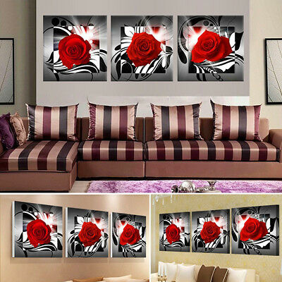 Unframed Canvas 3 Romatic Rose Art Oil Painting Picture Home Wall Printing Decor