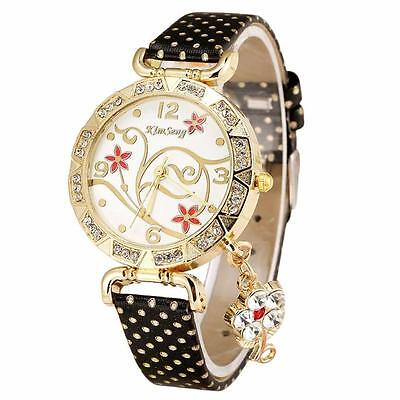 Womens Diamond Quartz Watch Orchid Pattern Bracelet Leather Watch Christmas Gift