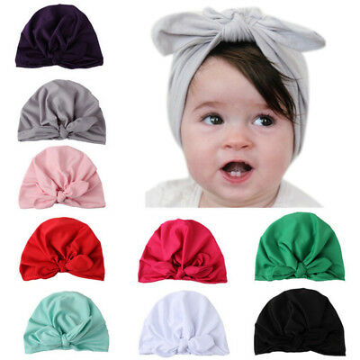 Summer Kids Baby Girls Turban Bow Knot Head Wrap Bunny Rabbit Ear Hat Cotton Cap